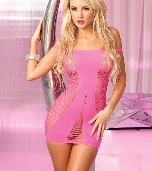 mini vestido en malla rosado