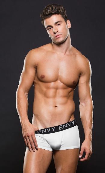 Boxer blanco clásico con elastico negro envy E044