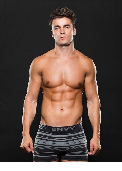 Boxer negro de rayas grises lycrado envy E063