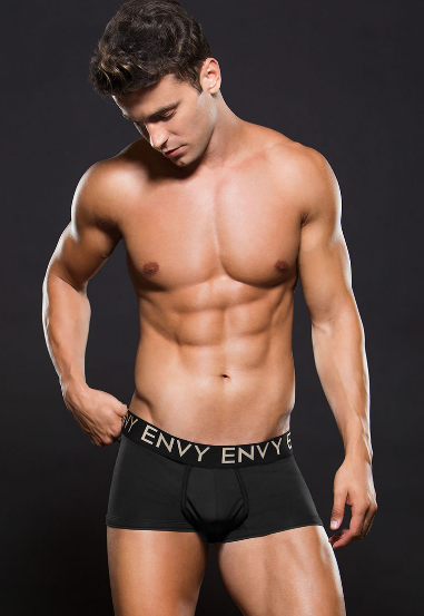 Boxer negro de corte alto lycrado envy E044