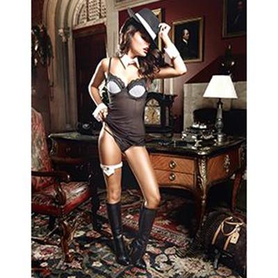 Mini vestido Pinstripe Chemise color negro