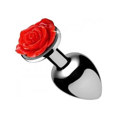 Plug anal con adorno de rosa roja