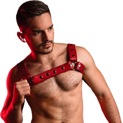 arnés de pecho masculino de color rojo