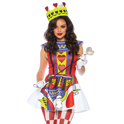 Disfraz reina de corazones color rojo y blanco 86722