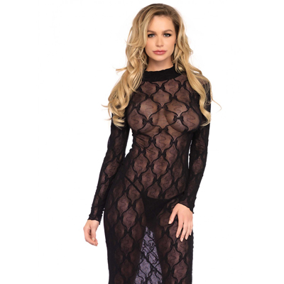 Vestido largo color negro Leg Avenue