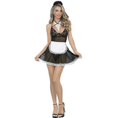 Disfraz Vestido de Mucama Sexy Negro con Blanco